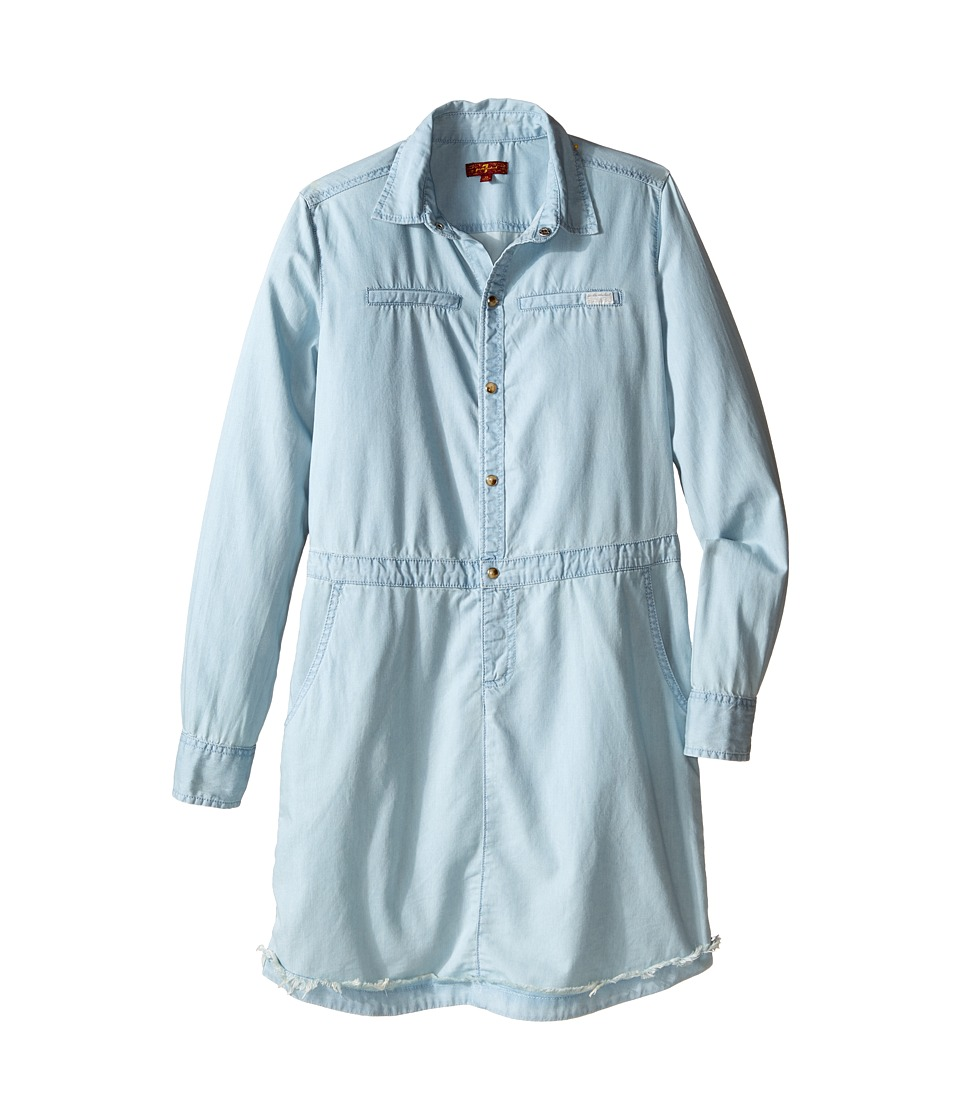 Image of 7 For All Mankind Kids - Long Sleeve Tencel Chambray Shirtdress (Big Kids) (Bleached Out) Girl's Dress