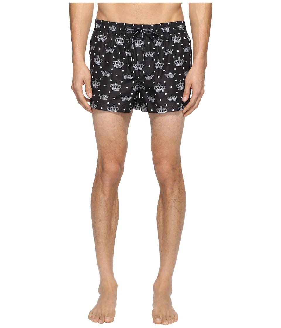 Dolce & Gabbana Crown Print Mid Cut Swim Shorts (Black) M...