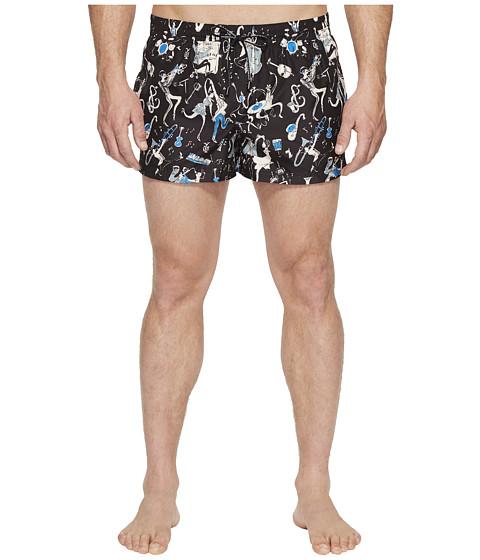 Dolce & Gabbana Jazz Print Mid Cut Swim Shorts