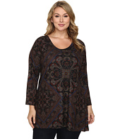 Nally & Millie - Plus Size Printed Patch Scarf Tunic