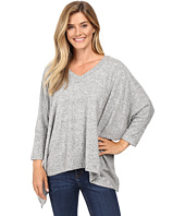 Nally & Millie - V-Neck Long Sleeve Oversize Top with Side Slits