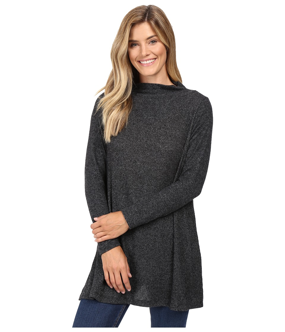 Nally & Millie - Long Sleeve Brushed Sweater Funnel Neck Tunic (Black) Women's Sweater