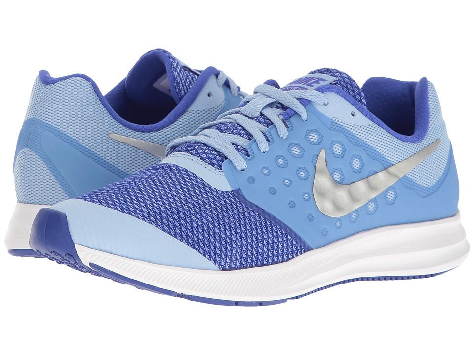 Nike Kids Downshifter 7 (Big Kid) (Aluminum/Metallic Silver/Paramount Blue) Girls Shoes