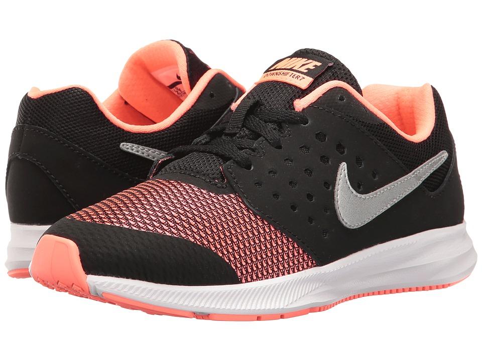 Nike Kids Downshifter 7 (Little Kid) (Black/Metallic Silver/Lava Glow/White) Girls Shoes