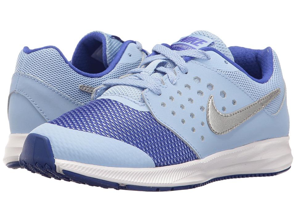 Nike Kids - Downshifter 7 (Little Kid) (Aluminum/Metallic Silver/Paramount Blue) Girls Shoes