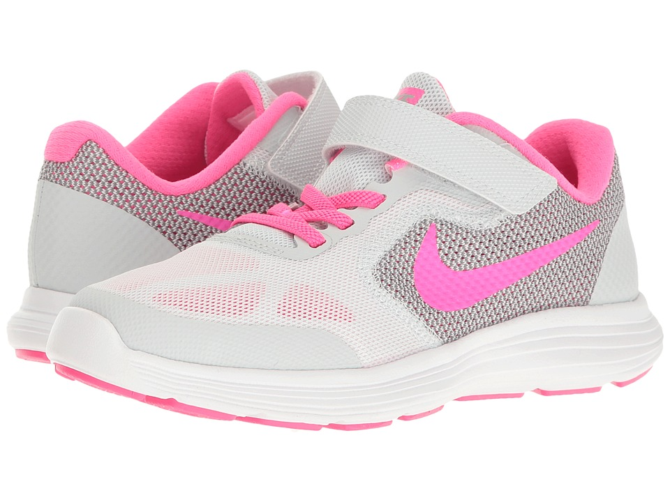 Nike Kids Revolution 3 (Little Kid) (Pure Platinum/Pink Blast/Wolf Grey/White) Girls Shoes