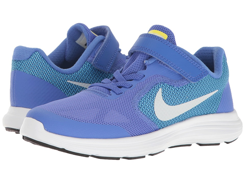 Nike Kids Revolution 3 (Little Kid) (Medium Blue/Pure Platinum/Polarized Blue) Girls Shoes