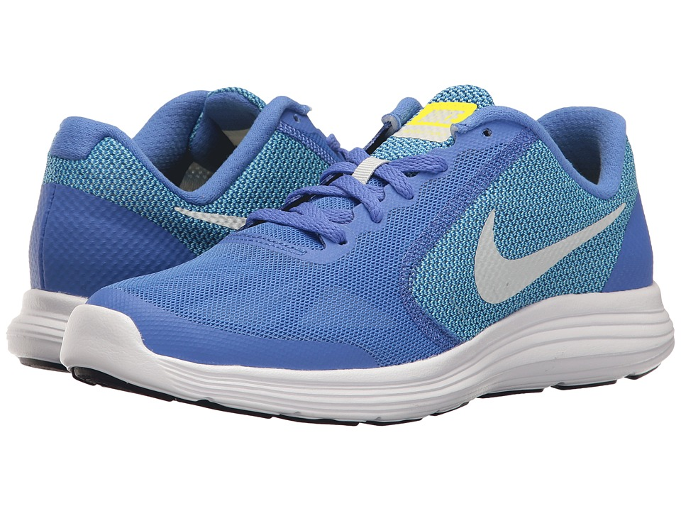 Nike Kids Revolution 3 (Big Kid) (Medium Blue/Pure Platinum/Polarized Blue) Girls Shoes