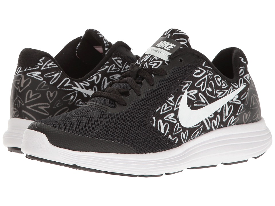 Nike Kids Revolution 3 Print (Big Kid) (Black/White/Lava Glow) Girls Shoes