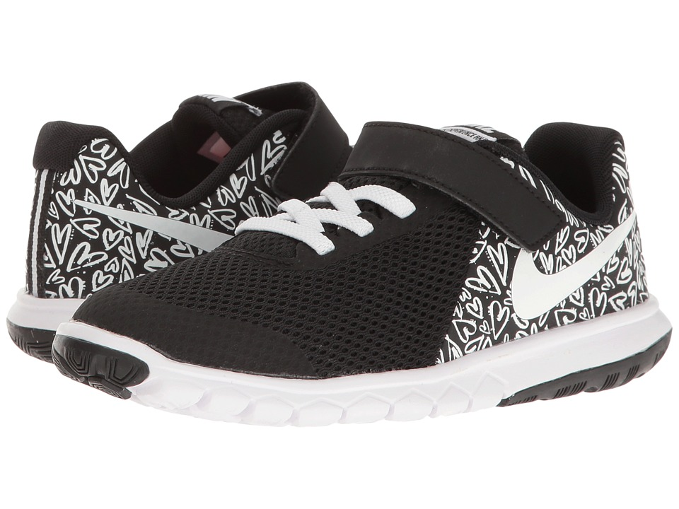 Nike Kids Flex Experience 5 Print (Little Kid) (Black/White/Lava Glow) Girls Shoes