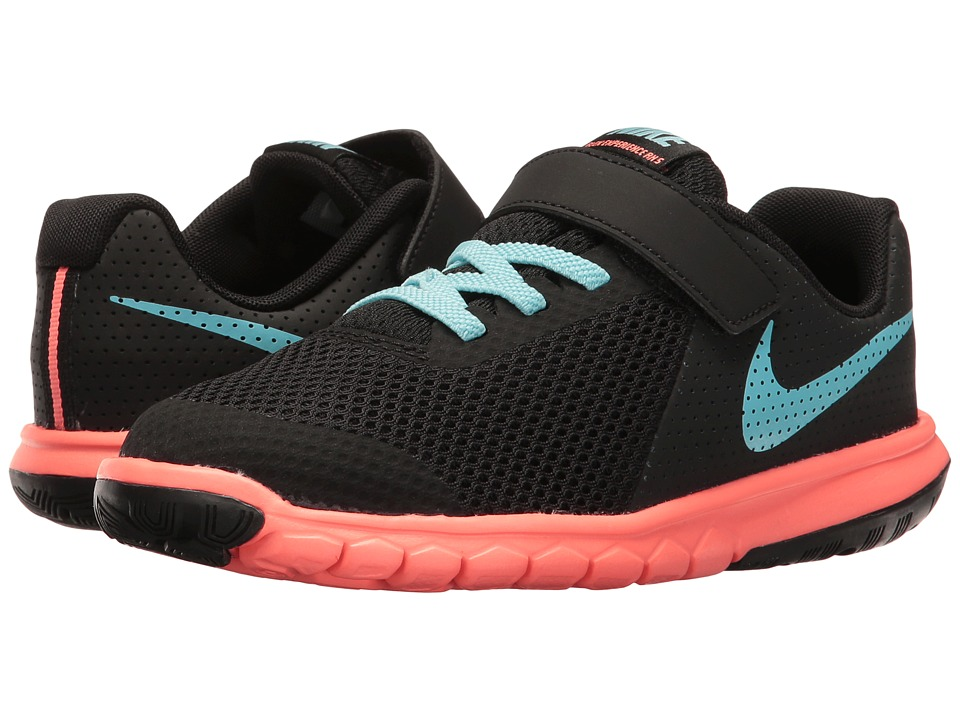 Nike Kids Flex Experience 5 (Little Kid) (Black/Still Blue/Lava Glow) Girls Shoes