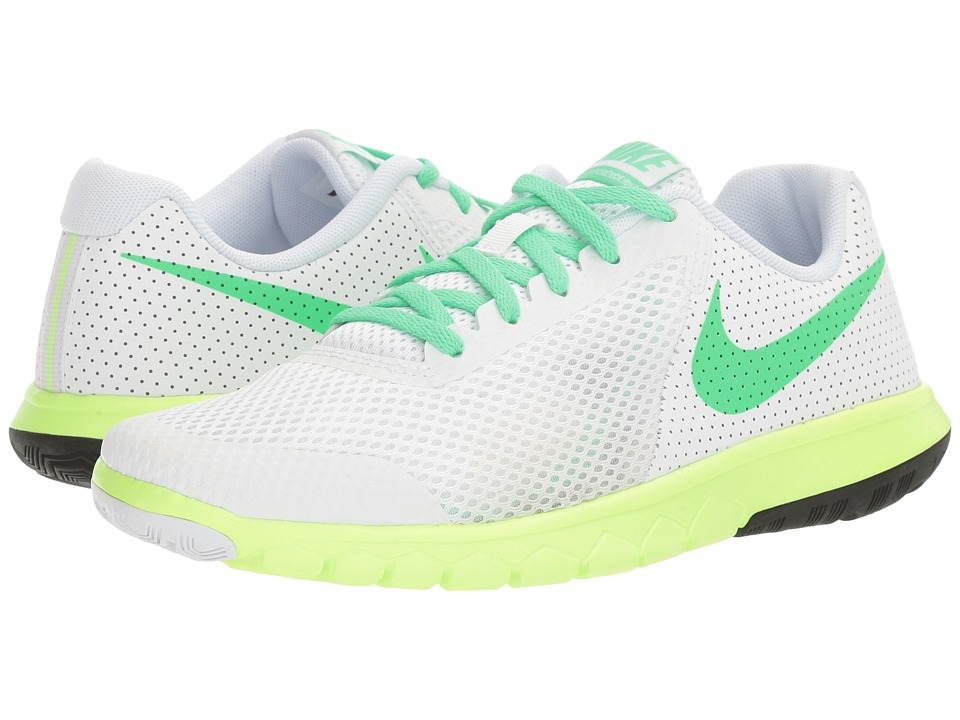 Nike Kids Flex Experience 5 (Big Kid) (White/Electro Green/Ghost Green/Black) Girls Shoes