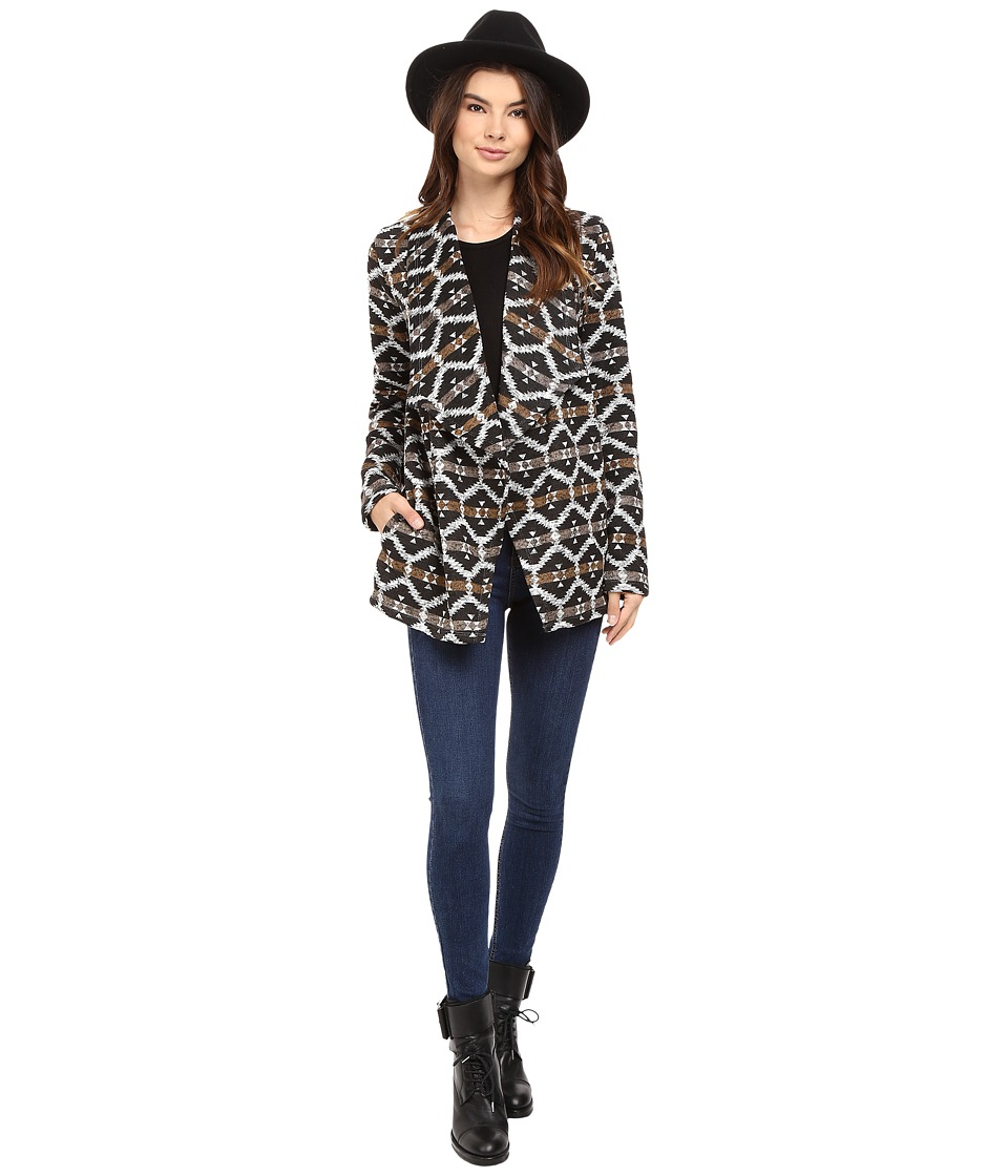 Jack by BB Dakota Keenu Printed Fleece Jacket (Black) Women