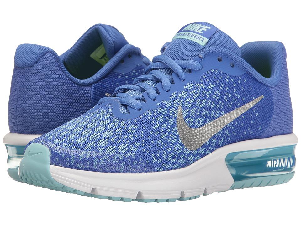 Nike Kids Air Max Sequent 2 (Big Kid) (Medium Blue/Metallic Silver/Still Blue) Girls Shoes
