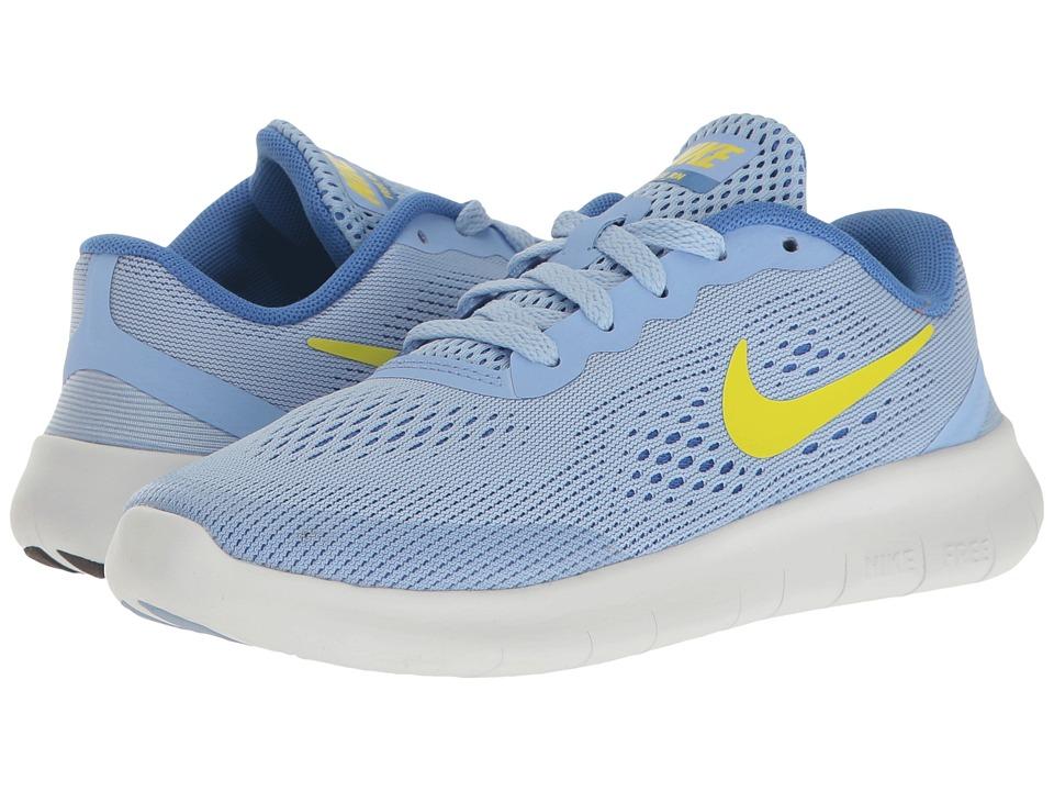Nike Kids Free RN (Little Kid) (Aluminum/Electrolime/Medium Blue) Girls Shoes