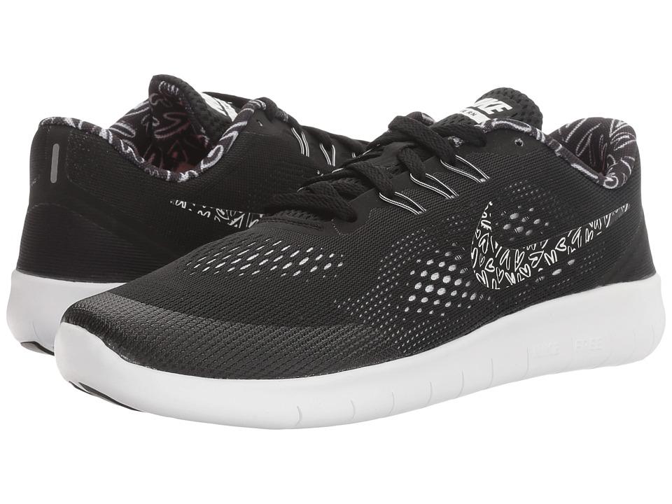 Nike Kids Free RN Print (Big Kid) (Black/White/Lava Glow/White) Girls Shoes