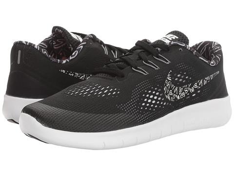 Nike Kids Free RN Print (Big Kid) - Black/White/Lava Glow/White