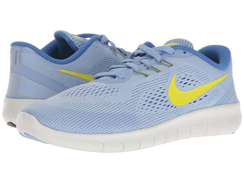 Nike Kids Free RN (Big Kid) (Aluminum/Electrolime/Medium Blue) Girls Shoes