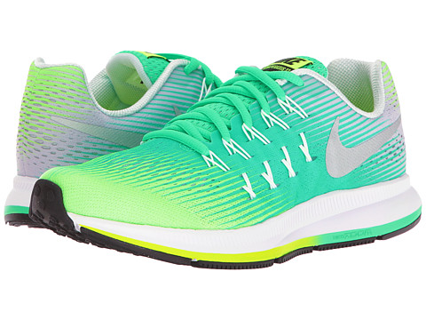 Nike Kids Zoom Pegasus 33 (Little Kid/Big Kid) - Ghost Green/Metallic Silver