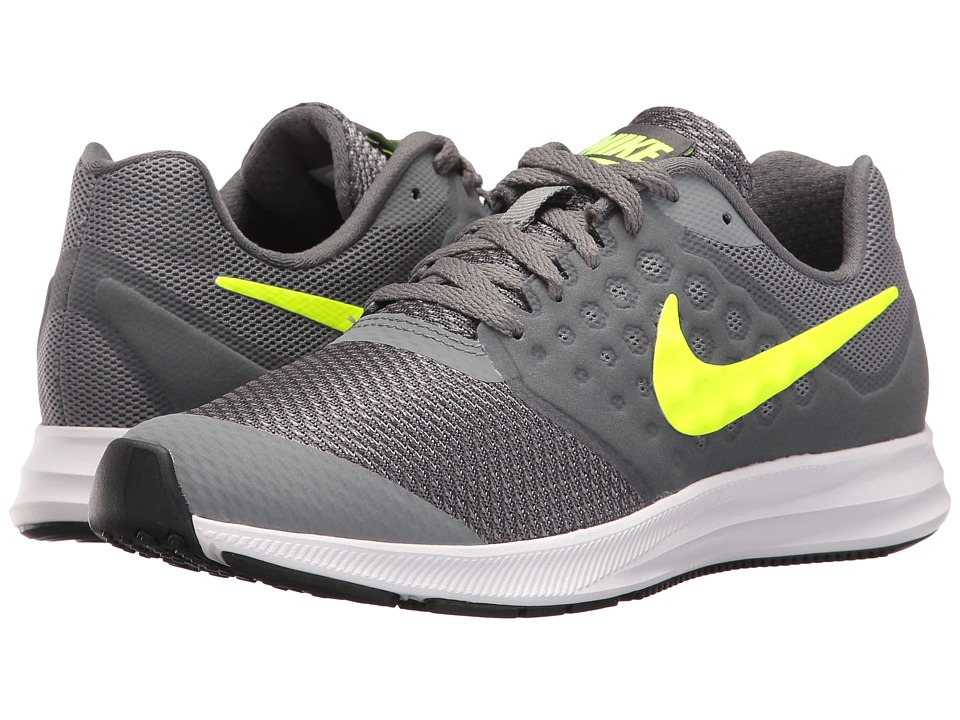 Nike Kids Downshifter 7 (Big Kid) (Cool Grey/Volt/Dark Grey/White) Boys Shoes