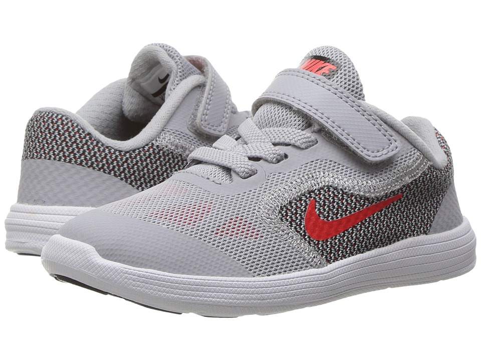 Nike Kids Revolution 3 (Infant/Toddler) (Wolf Grey/Max Orange/Black/White) Boys Shoes