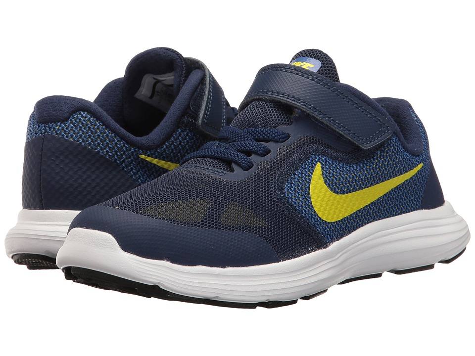 Nike Kids Revolution 3 (Little Kid) (Binary Blue/Electrolime/Paramount Blue) Boys Shoes