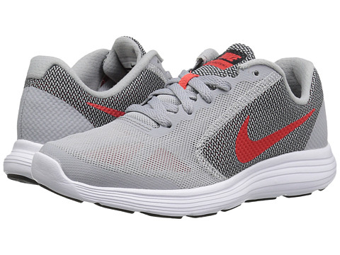 Nike Kids Revolution 3 (Big Kid) - Wolf Grey/Max Orange/Black/White