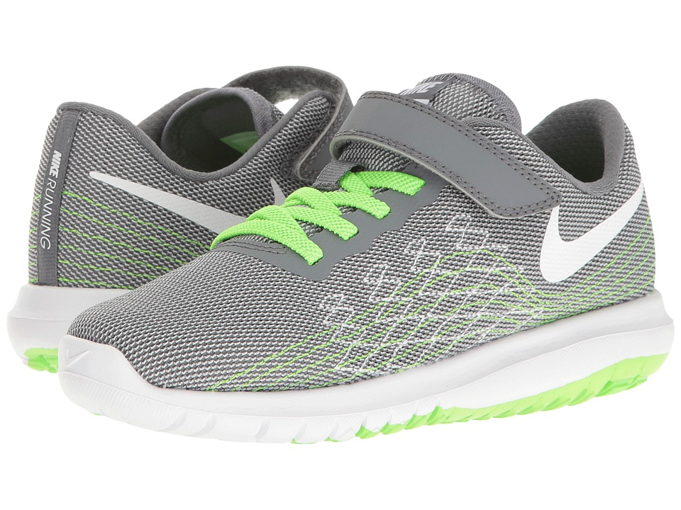 Nike Kids Flex Fury 2 (Little Kid) (Cool Grey/White/Wolf Grey/Electric Green) Boys Shoes