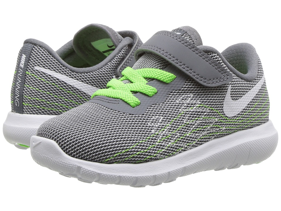 Nike Kids Flex Fury 2 (Infant/Toddler) (Cool Grey/White/Wolf Grey/Electric Green) Boys Shoes