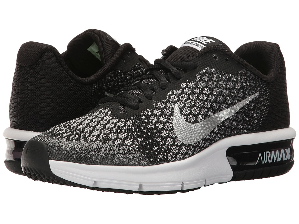 Nike Kids Air Max Sequent 2 (Big Kid) (Black/Metallic Silver/Dark Grey) Boys Shoes