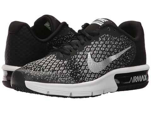 Nike Kids Air Max Sequent 2 (Big Kid) - Black/Metallic Silver/Dark Grey