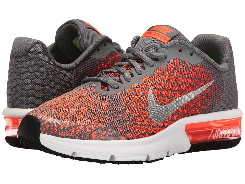Nike Kids Air Max Sequent 2 (Big Kid) (Cool Grey/Metallic Silver/Max Orange) Boys Shoes