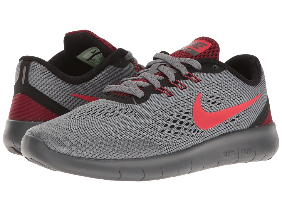 Nike Kids Free RN (Big Kid) (Cool Grey/Action Red/Black/Team Red) Boys Shoes