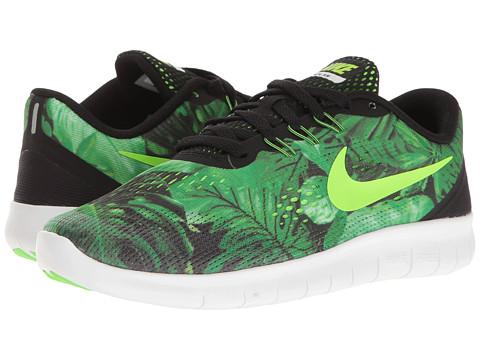 Nike Kids Free RN Print (Big Kid) - Black/Electric Green/Black/Gorgeous Green