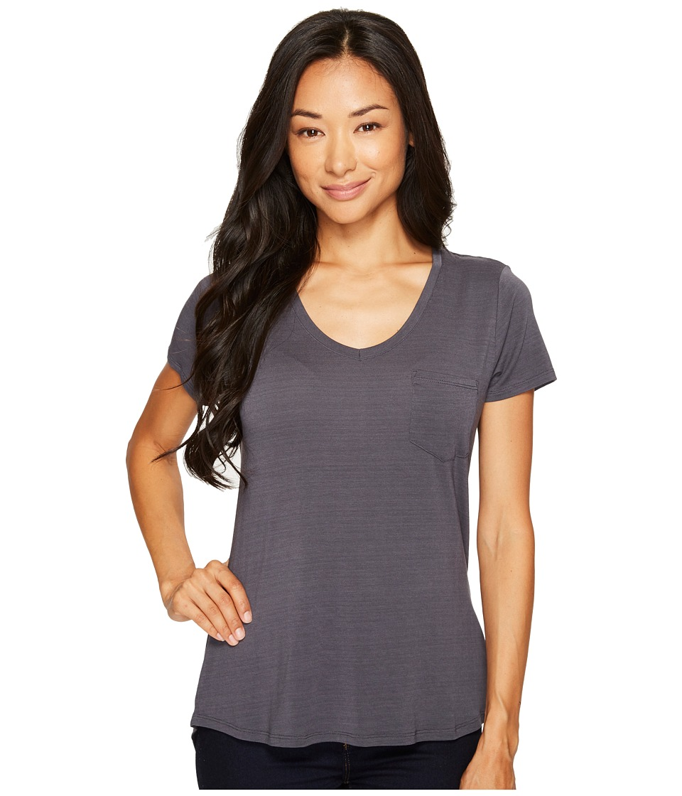 Prana Foundation Short Sleeve V-Neck Top (Coal) Women
