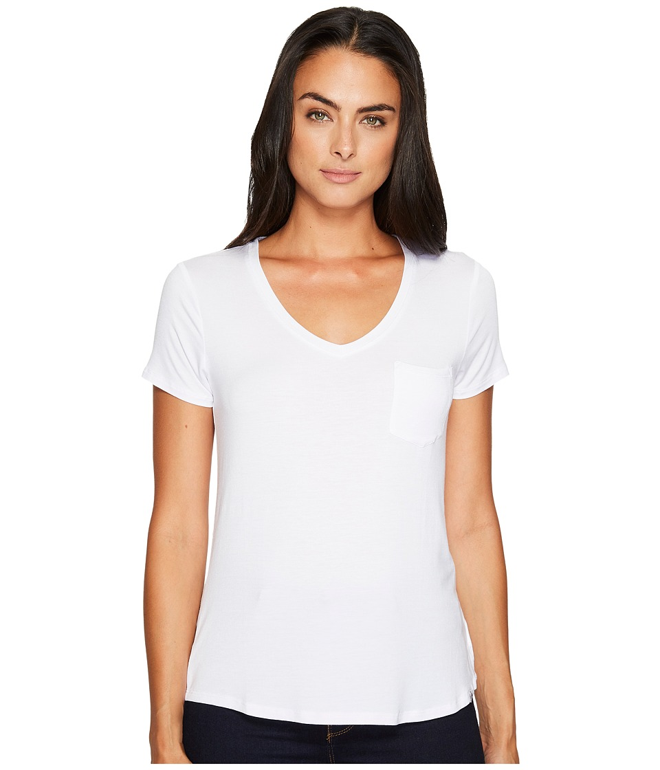 Prana Foundation Short Sleeve V-Neck Top (White) Women