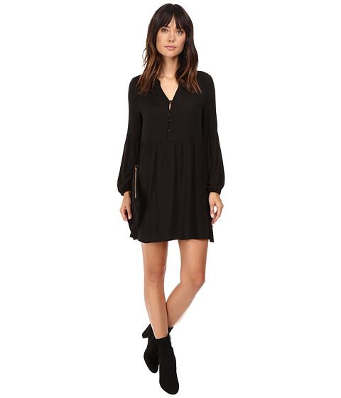 Jack by BB Dakota Jerrilyn Rayon Crepe Long Sleeve Dress - Black