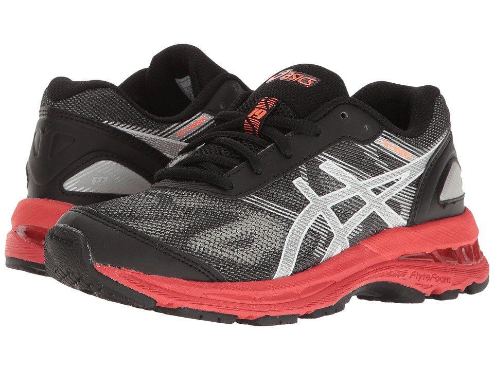 ASICS Kids GEL-Nimbus 19 GS (Little Kid/Big Kid) (Black/Silver/Vermillion) Boys Shoes
