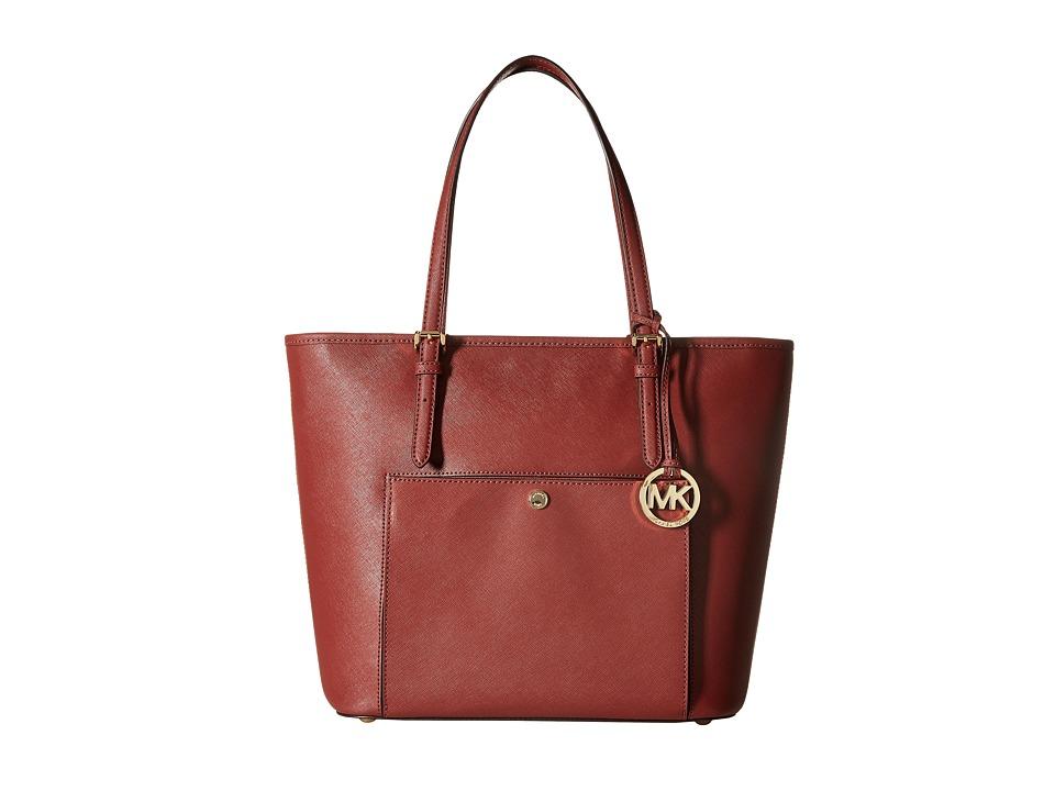 MICHAEL Michael Kors - Jet Set Item Lg Tz Snap Pckt Tote (Brick) Tote Handbags