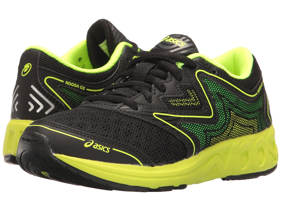ASICS Kids Noosa GS (Little Kid/Big Kid) (Black/Safety Yellow/Green Gecko) Boys Shoes