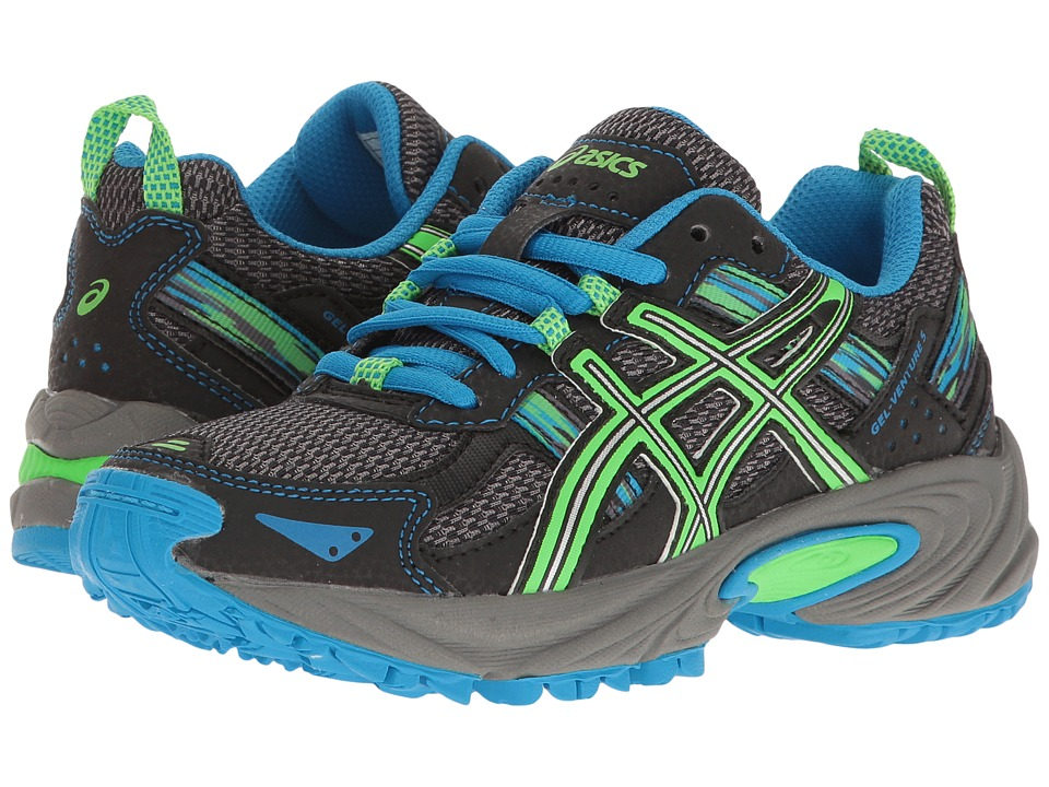 ASICS Kids Gel-Venture 5 GS (Little Kid/Big Kid) (Aluminum/Green Gecko/Diva Blue) Boys Shoes