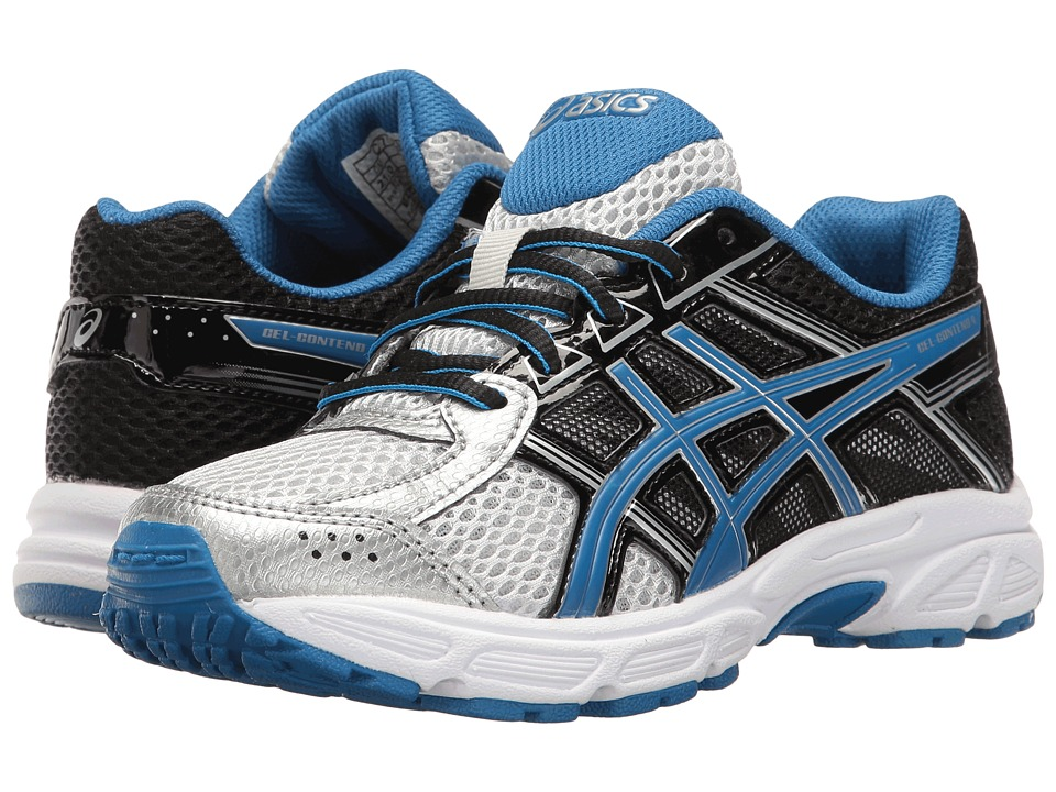ASICS Kids GEL-Contend 4 GS (Little Kid/Big Kid) (Silver/Classic Blue/Black) Boys Shoes