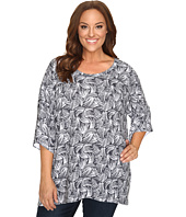 Nally & Millie - Plus Size Printed Boxy Sweater Top
