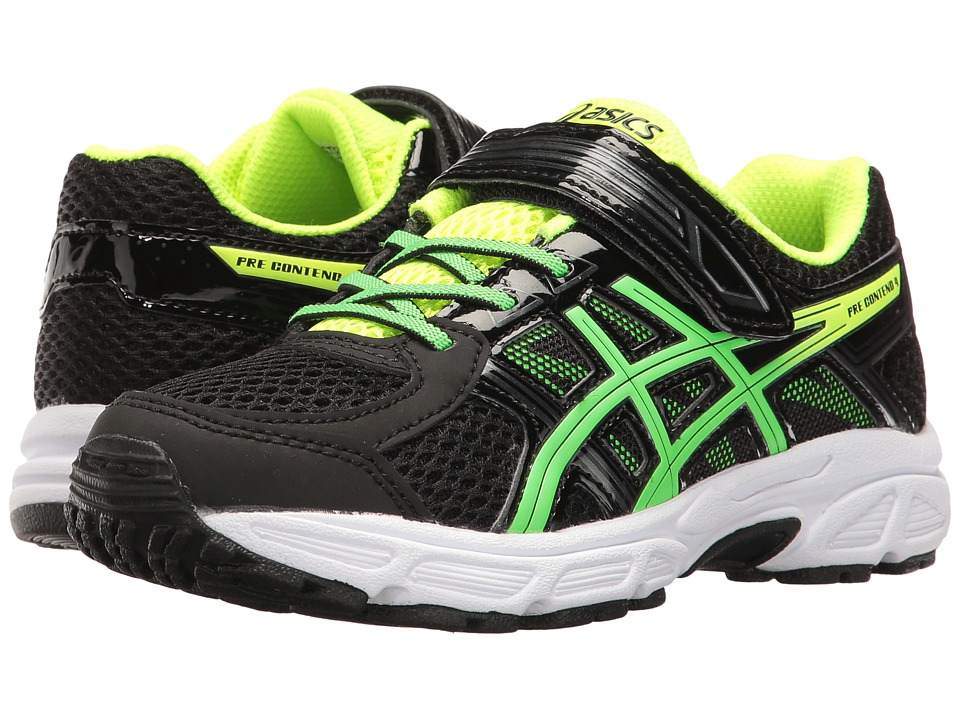ASICS Kids GEL-Contend 4 PS (Toddler/Little Kid) (Black/Green Gecko/Safety Yellow) Boys Shoes