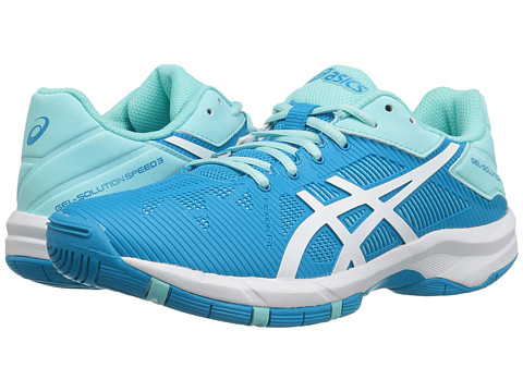 ASICS Kids Gel-Solution® Speed 3 GS (Little Kid/Big Kid) - Aqua Splash/White/Diva Blue