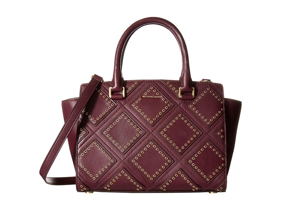 MICHAEL Michael Kors - Diamond Grommet Selma Md Tz Satchel (Plum) Messenger Bags