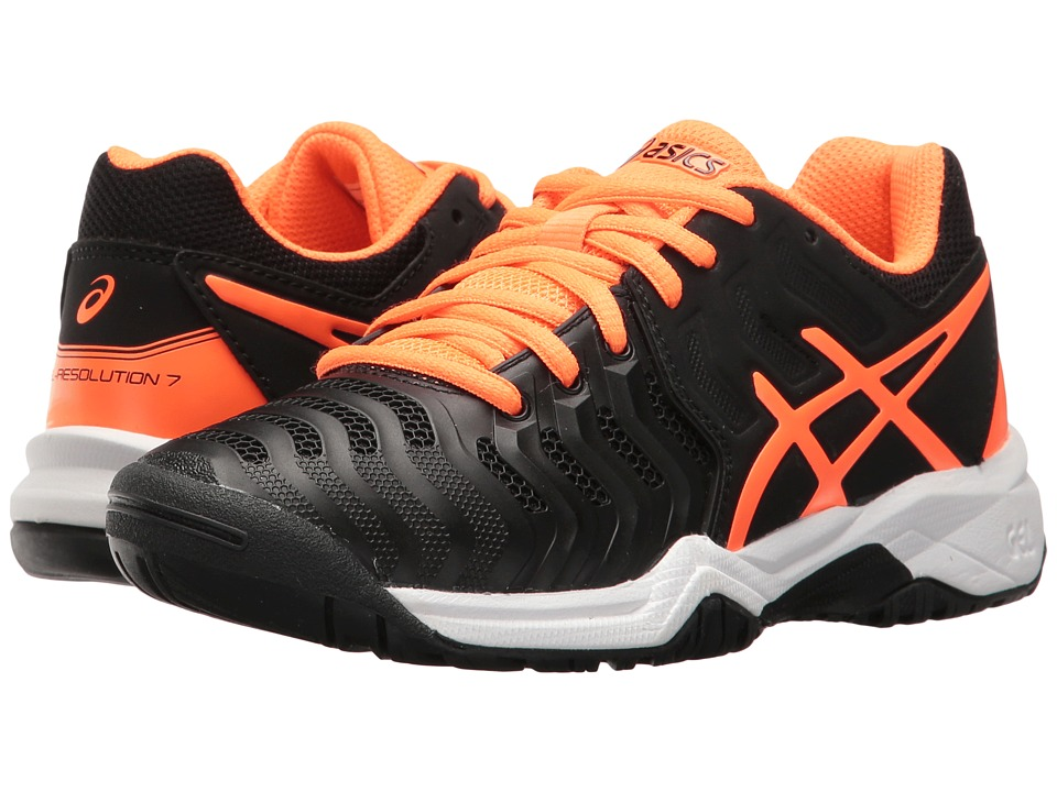 ASICS Kids GEL-Resolution 7 GS (Little Kid/Big Kid) (Black/Shocking Orange/White) Boys Shoes