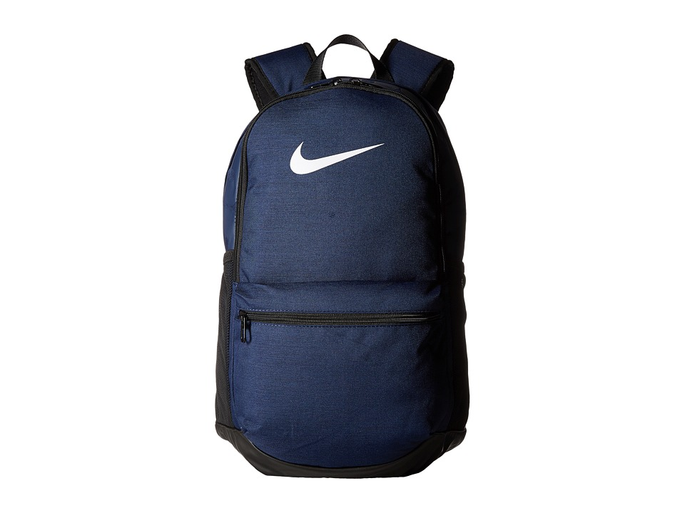 Nike Brasilia Medium Backpack (Midnight Navy/Black/White) Backpack Bags