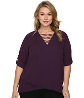 Karen Kane Plus - Plus Size Lace-Up Roll-Tab Top