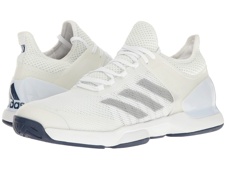 adidas - Adizero Ubersonic 2 (Footwear White/Silver Metallic/Mystery Blue) Mens Tennis Shoes